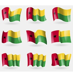 Set of GuineaBissau flags in the air vector image