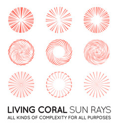 Set of sunburst rays of sun in trendy coral color vector
