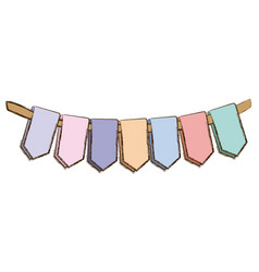 set pastel palette decorative pennants for party vector image