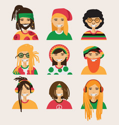 Set with rastafarian men isolated on vector