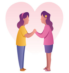 sisters holding hands vector image