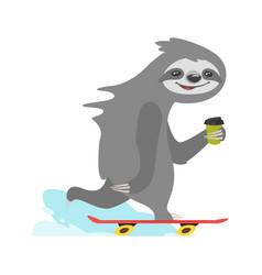 Sloth character riding skateboard vector