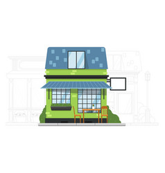 small suburb house on urban cityscape silhouette vector image