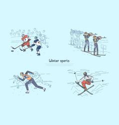 speed skating biathlon competition vector image