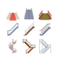 staircases wooden and metal ladders vector image