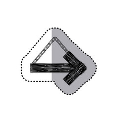Sticker monochrome arrow right shape wooden sign vector