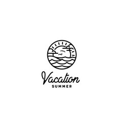summer beach island sea ocean wave sun sky logo vector image