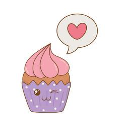 Sweet cupcake with speech bubble heart kawaii vector
