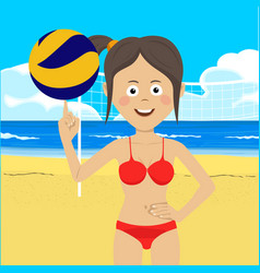 teenager girl at the beach with volleyball vector image