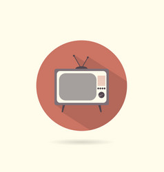 tv flat round icon vector image