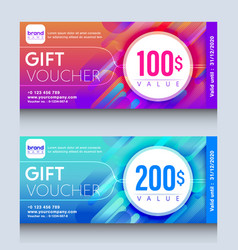 Vibrant colorful gift voucher certificate coupon vector