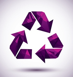 Violet recycle geometric icon made in 3d modern vector