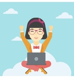Woman on cloud with laptop vector image