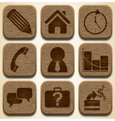 Wooden business icons set vector