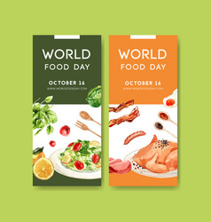 World food day flyer design with salad bacon vector