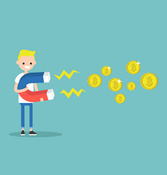 young character mining bitcoins with a huge vector image