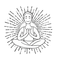 Young Man meditates in the Lotus position Linear vector image