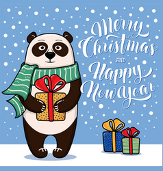 christmas and new year card with standing panda vector image