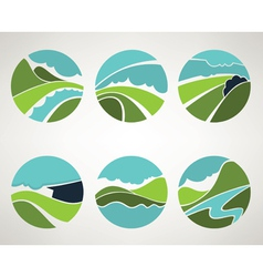 landscape and nature symbols in old style vector image vector image