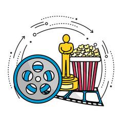 Reel scene with prize popcorn and filmstrip vector