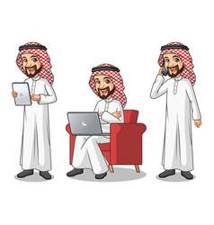 set of saudi arab man working on gadget vector image vector image