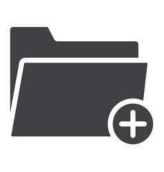add folder glyph icon web and mobile add file vector image