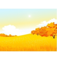 autumn rural landscape with meadow and vector image