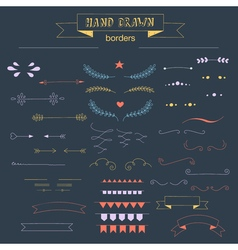Collection of unique hand drawn borders vector image vector image