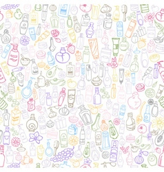 Cosmetic products seamless background vector
