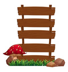 Empty signboards near the red mushroom plant vector image