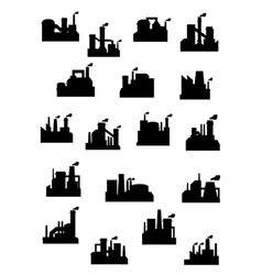 Industrial factories and refineries icon set vector image