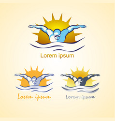 modern abstract swimming logo vector image