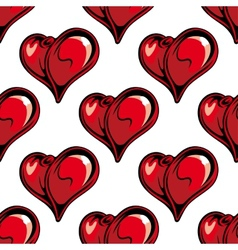 Retro red hearts seamless pattern vector image