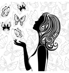 Silhouette of young woman with flying butterflies vector image