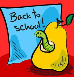 Back to school worm in pear vector image