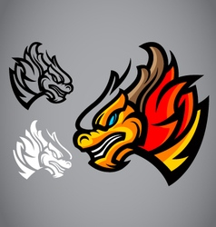 dragon gold head emblem logo vector image vector image