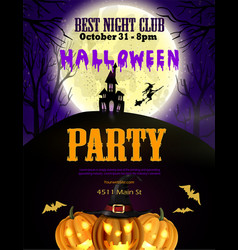 halloween party flyer with pumpkins vector image vector image