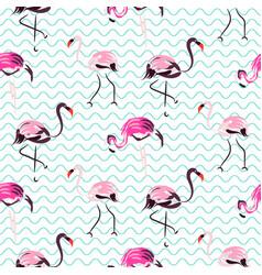 hand drawn purple flamingo bird blue waves vector image