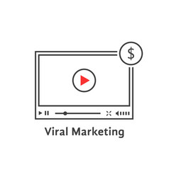 thin line video player like viral marketing vector image vector image