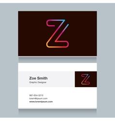 business card letter Z vector image