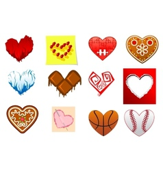 Colourful heart shapes set vector image vector image