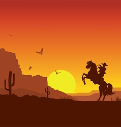 Wild west american desert landscape with cowboy on vector image vector image