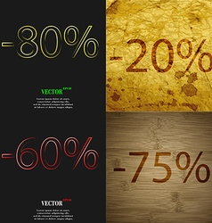 20 60 75 icon Set of percent discount on abstract vector