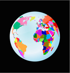 3d globe with political world map vector image