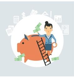 Accountant throws money into a pig vector