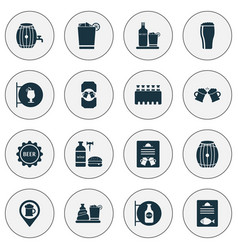 alcohol icons set with beer lid menu container vector image
