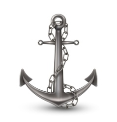 Anchor with chain realistic style vector