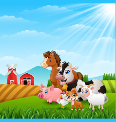 animals happy at the farm hills vector image
