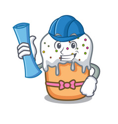 architect easter cake character cartoon vector image