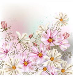 Background or with cosmos flowers in retro style vector